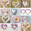 Romantische Collage: Herze aus bunten Blüten :)