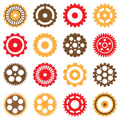 Set of Vector Mechanical Various Gears