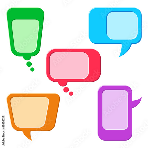 Set of Colorful Speech Bubbles or Conversation Clouds