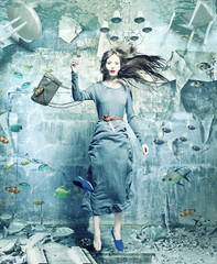 woman underwater. creative concept