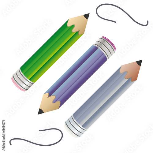 Three colored pencil