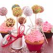canvas print picture - cake pop and cupcake