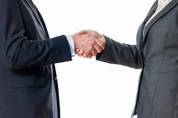 Businessman or man shaking hands with a businesswoman