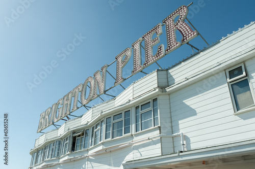 brighton pier lightbulb sign in daylight