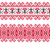 Ukrainian, Slavic red and grey traditional seamless folk pattern - 63655409