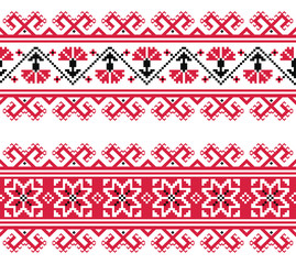 Ukrainian, Slavic red and grey traditional seamless folk pattern