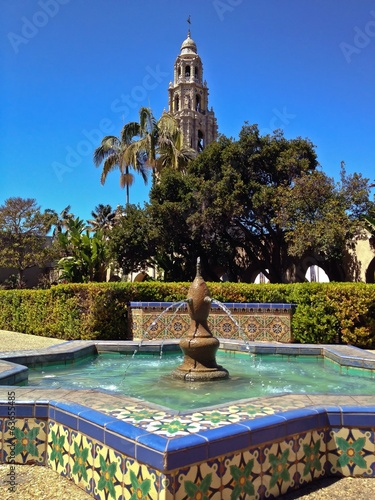 California Tower from Alcazar Gardens, Balboa Park, San Diego