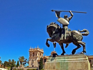 El Cid Statue with copy space, Balboa Park, San Diego