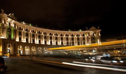Piazza della Repubblica with night traffic, Rome, Italy