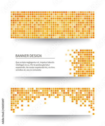 Set of yellow pixel banners.
