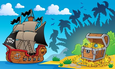 Pirate theme with treasure chest 1