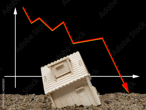 house sinking with a downward arrow on background, horizontal
