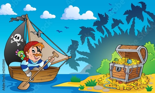 Pirate theme with treasure chest 3