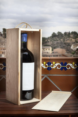 Red Wine with Box landscape Background