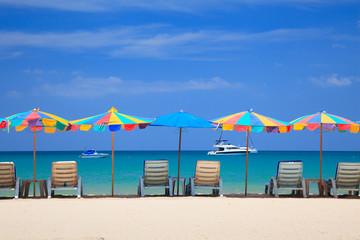 Beach chair on the beach, Phuketi, Thailand
