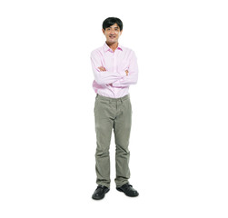 Confident Asian Man Standing with Arms Crossed