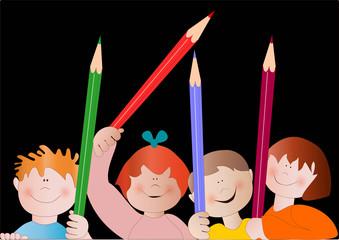 bambini con colori