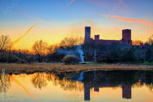 Medieval castle on sunset background.HDR-high dynamic range - 63656423