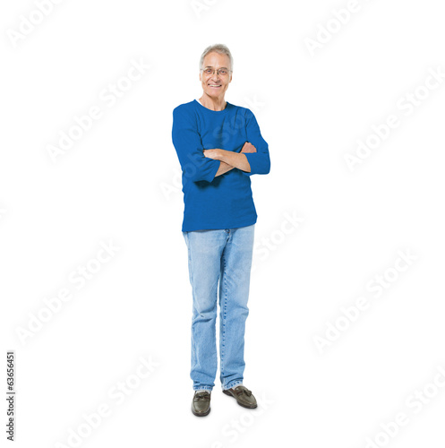 Confident Senior Man Standing with Arms Crossed