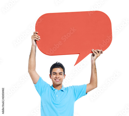 Cheerful Young Asian Man Holding Speech Bubble