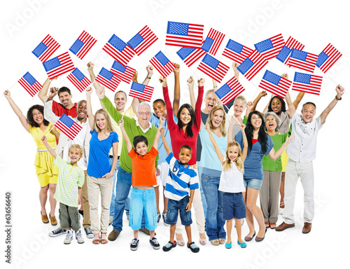 Multi-Ethnic  People Holding American Flag