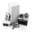 Group of Kitchen Appliances on white background
