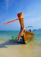 Traditional longtail boat on Koh Phi Phi Leh Island, Krabi, Thai