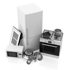 Group of Kitchen Appliances on white background