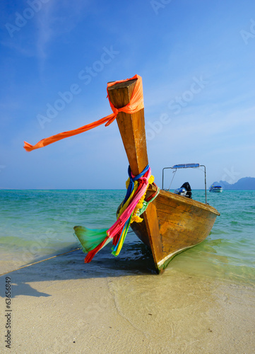 Traditional longtail boat on Koh Phi Phi Leh Island, Krabi, Thai