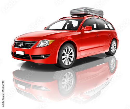 Large Red Family 3D Car