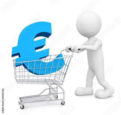 3D man pushing a cart with Euro sign