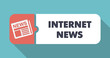 Internet News Concept in Flat Design on Blue Background.
