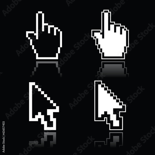 Pixel white cursors - hand and arrow icons on black background