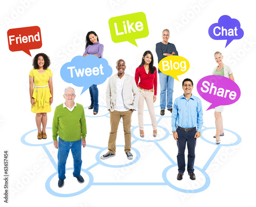 Group of Multi-Ethnic Socially Connected People