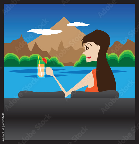 Woman with fruit punch and mountain background