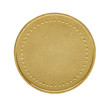 Close up of blank golden coin isolated on white background