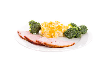 Ham Broccoli and Mac and Cheese
