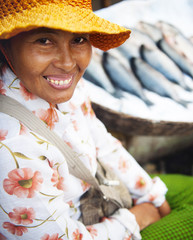 Indigenous Cambodian Woman Selling Fish