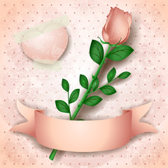 Vintage background with pink rose