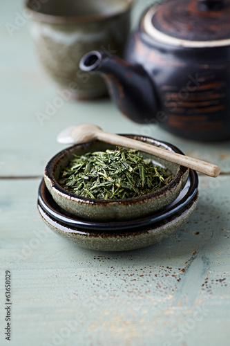 Sencha Green Tea on a Ceramic Plate