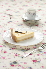 Piece of Vanilla Tart on a white plate