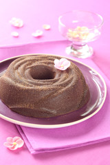 Chocolate Baked Pudding on a purple plate