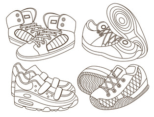 set of sport shoes (vector illustration)