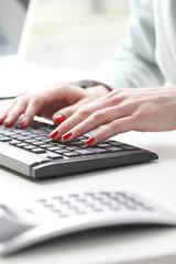 Businesswoman analyzing data