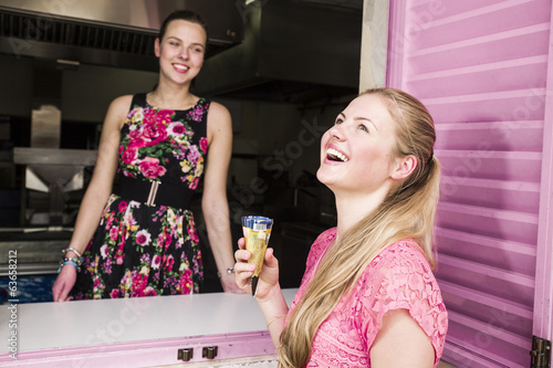 Two friends eating ice cream