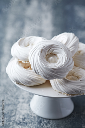 Meringue Nests on a Cake Stand