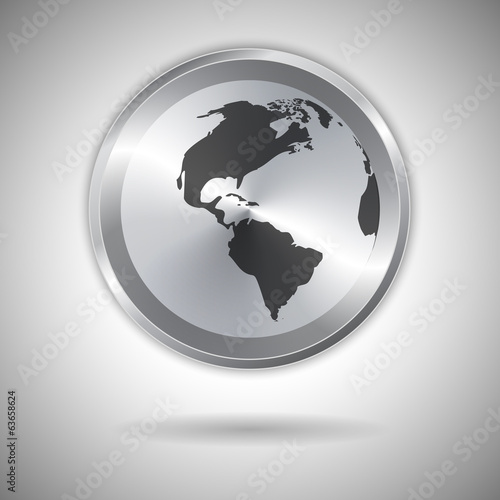 World map on metallic circle element