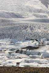 Iceland. Southeast area. Fjallsjokull glacier with tourits.
