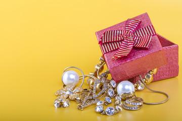 Jewelry gift box on yellow background