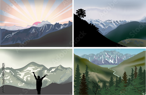set of four landscapes illustrations